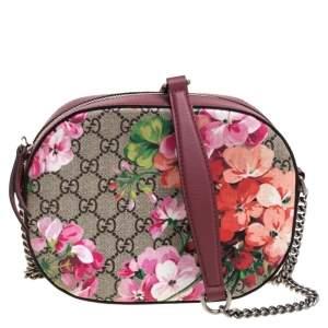 Gucci Multicolor GG Supreme Blooms Canvas and Leather Mini Chain Crossbody Bag