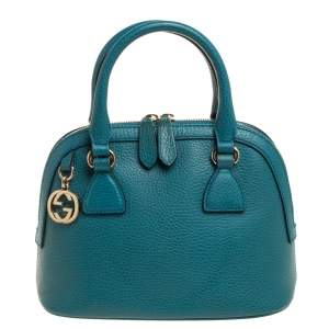 Gucci Teal Blue Leather Interlocking GG Charm Satchel