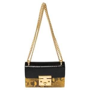 Gucci Multicolor Python Small Padlock Shoulder Bag