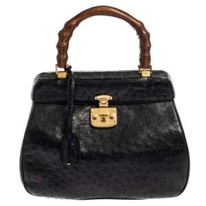 Gucci Black Ostrich Lady Lock Bamboo Top Handle Bag