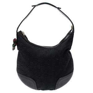Gucci Black GG Canvas and Leather Small Princy Hobo