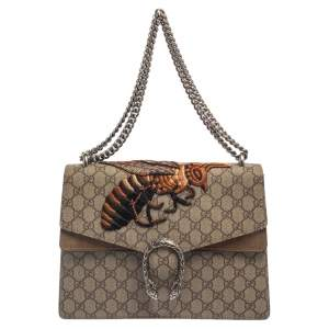 Gucci Beige GG Supreme Canvas and Suede Medium Dionysus Bee Embroidered Shoulder Bag