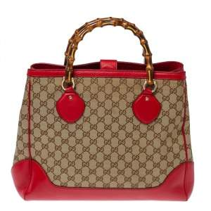 Gucci  Red/Beige GG Canvas and Leather Bamboo Tote