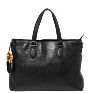 Gucci Black Pebbled Leather Bamboo Tassel Tote