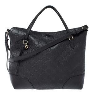 Gucci Black Guccissima Leather Medium Bree Tote