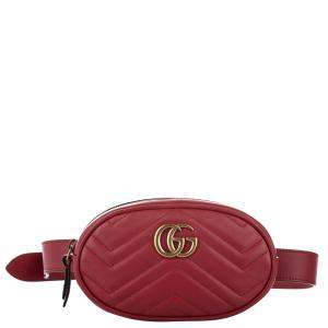 Gucci Red Leather GG Marmont Matelasse Belt Bag