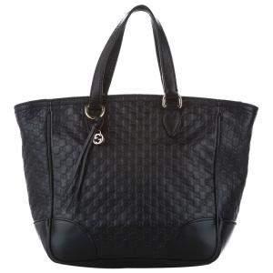 Gucci Black Microguccissima Bree Leather Satchel Bag