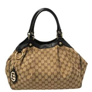 Gucci Brown GG Canvas and Leather Medium Sukey Tote