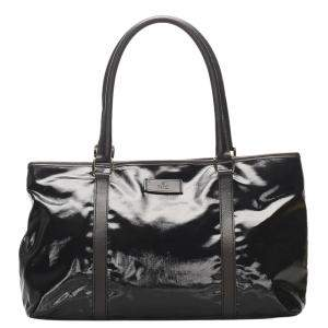 Gucci Black Patent Leather Tote Bag