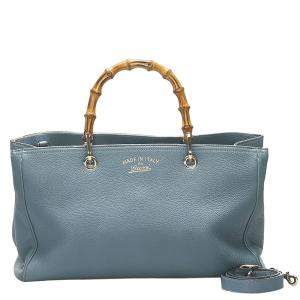 Gucci Blue Leather Bamboo Shopper Tote Bag