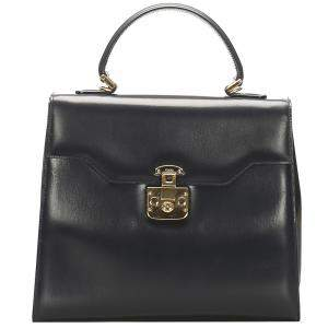 Gucci Black Leather Vintage Kelly Bag