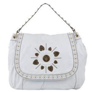 Gucci White Leather Irina Babouska Hobo Bag