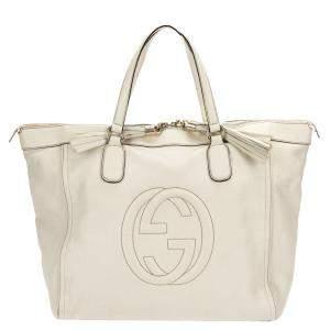 Gucci White Leather Soho Working Tote Bag