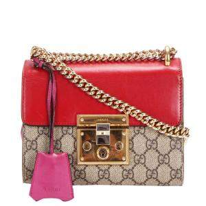 Gucci Brown/Red GG Supreme Canvas and Leather Padlock Crossbody Bag