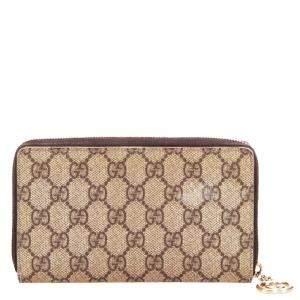 Gucci Brown GG Supreme Canvas Zip Around Wallet