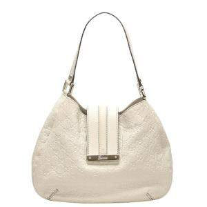 Gucci White Guccissima Leather New Ladies Web Hobo Bag