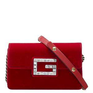 Gucci Red Fabric Broadway Velvet Crossbody Bag