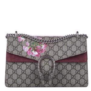 Gucci Brown/Beige Coated Canvas Suede Dionysus GG Blooms Shoulder Bag
