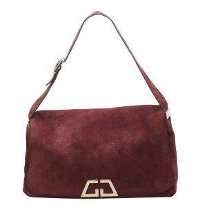 Gucci Red Leather Suede Shoulder Bag