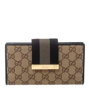 Gucci Beige GG Canvas Web Continental Wallet