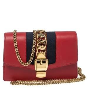 حقيبة كروس غوتشي سوبر ميني سيلفي جلد أحمر