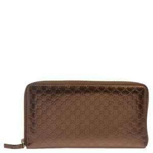 Gucci Bronze Microguccissima Patent Leather Large Zip Around Wallet