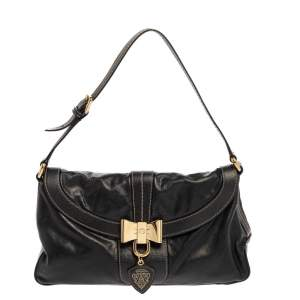 Gucci Black Leather Duchessa Boston Lock Satchel