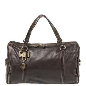 Gucci Dark Brown Leather Large Duchessa Boston Bag