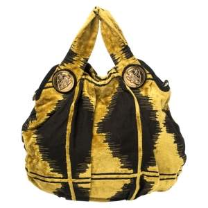 Gucci Mustard/Black Printed Velvet and Fabric Large Hysteria Hobo