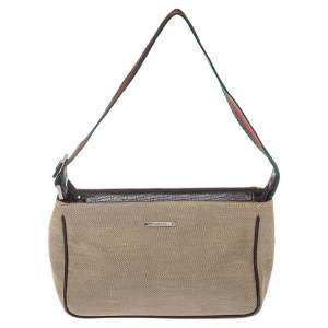 Gucci Beige Canvas Web Pochette