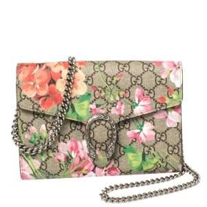 محفظة بسلسلة غوتشي ديونيسيس جلد وكانفاس زهور سوبريم جى جى متعددة الألوان