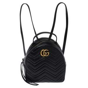 Gucci Black Matelasse Leather GG Marmont Backpack