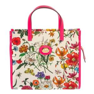 Gucci Multicolor Canvas And Leather Trimmed Flora Tote
