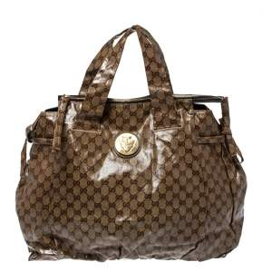 Gucci Beige/Brown GG Crystal Coated Canvas Large Hysteria Tote