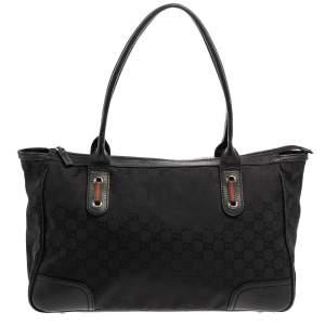 Gucci Black GG Nylon and Leather Medium Princy Tote