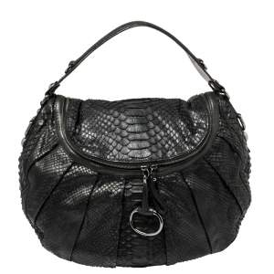 Gucci Black Python and Leather Hobo