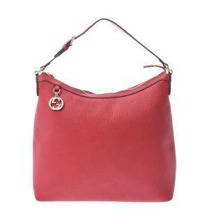 Gucci Red Canvas Leather Interlocking G Hobo Bag