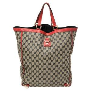 Gucci Beige/Red GG Canvas And Leather Large Abbey Tote