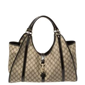 Gucci Beige/Brown GG Supreme Coated Canvas and Leather Bardot Joy Tote