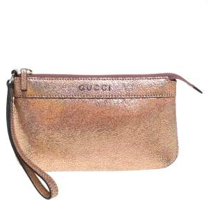 Gucci Rose Gold Iridescent Cracked Leather Wristlet Pouch