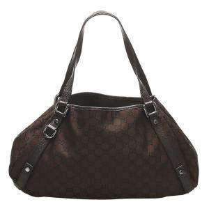 Gucci Brown/Dark Brown GG Canvas Pelham Tote Bag