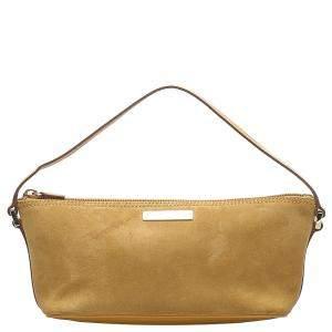 Gucci Yellow Suede Boat Pochette Bag