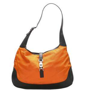 Gucci Orange/Black Jackie Nylon Shoulder Bag