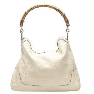 Gucci White Diana Leather Bamboo Satchel Bag