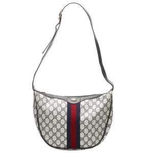 Gucci White GG Canvas Web Crossbody Bag