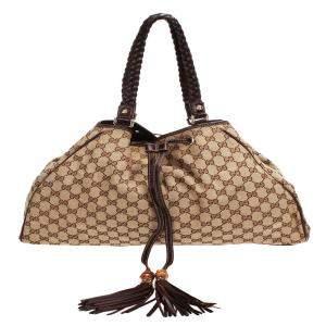 Gucci Brown/Beige GG Canvas Peggy Shoulder Bag