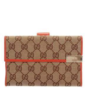 Gucci Beige/Brown GG Canvas Long Wallet