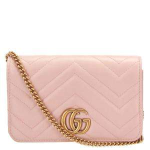 Gucci Pink GG Marmont Quilted Leather Crossbody Bag