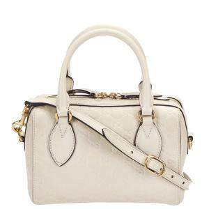 Gucci White Guccissima Leather Boston Bag
