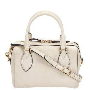 Gucci White Guccissima Leather Boston Bag